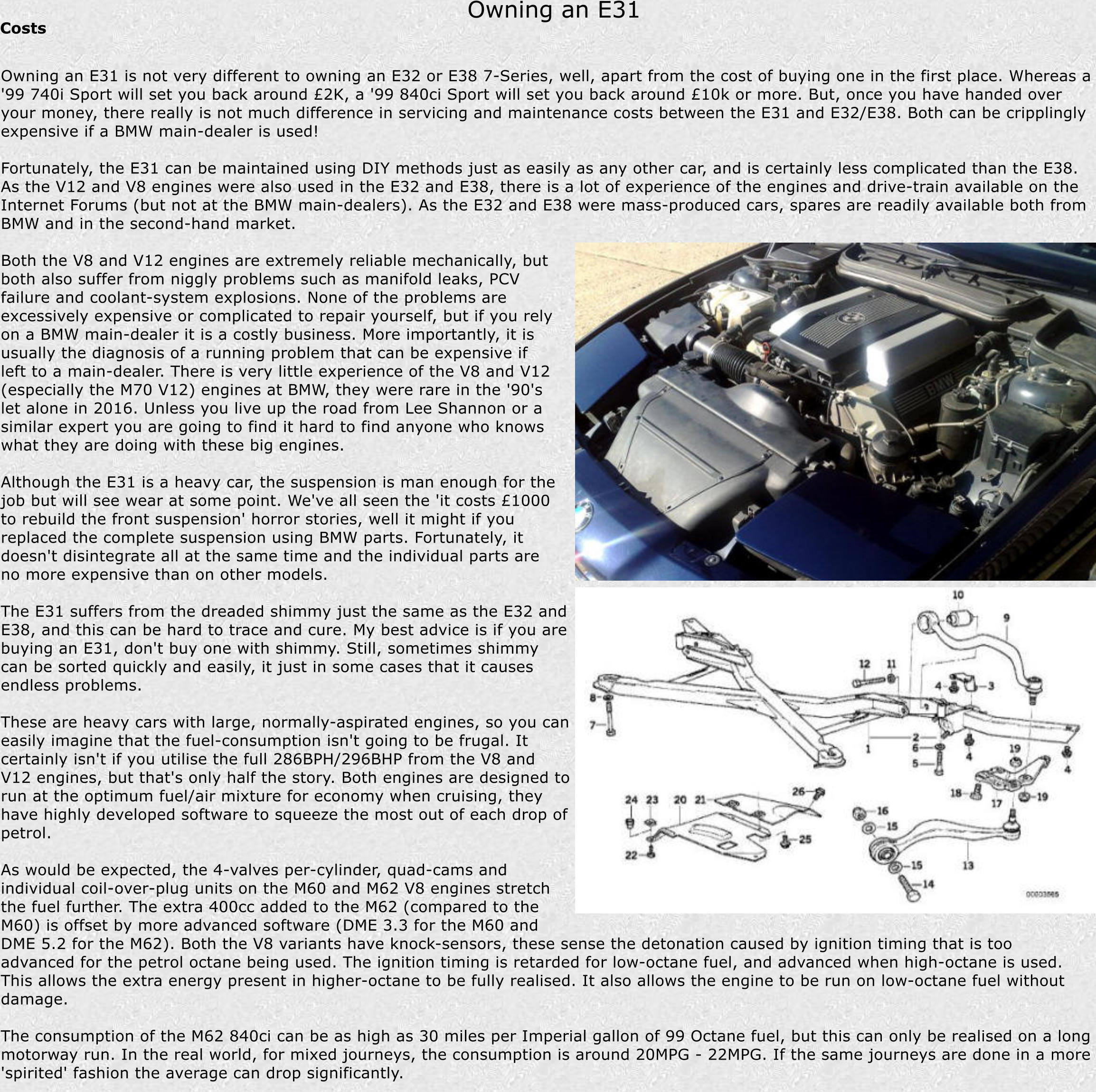 Timms Bmw E31 8 Series Buying Guide 850i Engine Wiring Harness Owning An Costs Is Not Very Different To E32 Or
